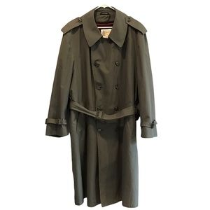 London Fog green long trench coat with winter lining 44R